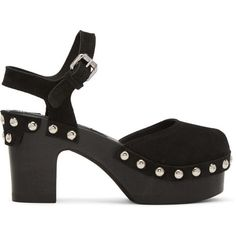McQ Alexander McQueen Black Holt Clog Sandals (7,930 MXN) ❤ liked on Polyvore featuring shoes, sandals, black, black clogs, black platform clogs, wooden sandals, studded sandals and wooden platform sandals