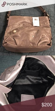 Coach Tote Metallic grey leather Coach tote.  Front of bag shown, back has an outside zipper pocket.  Excellent like new condition.  Leather has no scuffs, inside is black satin and free of stains.  Strap can be adjusted to be longer.  Open to reasonable offers. 🚫 trades please. Coach Bags Totes