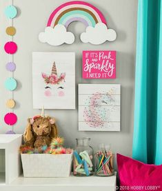 Hang some happy with magically cute decor featuring everyone's favorite fantastical creature! Hang some happy with magically cute decor featuring everyone's favorite fantastical creature! Unicorn Room Decor, Unicorn Rooms, Unicorn Bedroom, Big Girl Bedrooms, Little Girl Rooms, Little Girls Room Decorating Ideas Toddler, Rainbow Bedroom, Rainbow Room Kids, Fantasy Bedroom