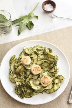 Pesto Zucchini Noodles with Pan Seared Diver Scallops