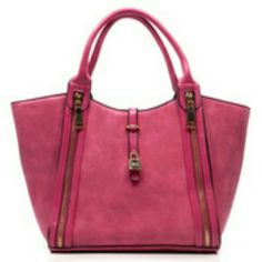 "The Magenta Fashion Handbag! Beautiful Faux suede and Faux leather Magenta Fashion bag,  lined interior,  and comes with a adjustable long strap  No Trade Discount on bundles Measurements 17 "" wide and 11""  height Bags Shoulder Bags"