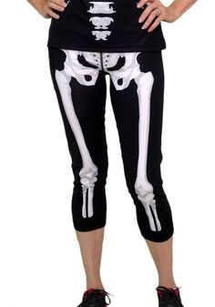 e9af58ad Women's Skeleton Capri Pants Front Match INKnBURN's Skeleton Tech Shirt  Easy race costume for Halloween Season!
