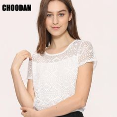 White Blouse Lace Chiffon Short Sleeve Top  #Tops