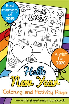Kids will love our free 2020 colouring page. Let them write down their best memory from this year and their wish for We love practicing mindfulness and this is a lovely way to be mindful about this year whilst looking forward to the next. New Year's Eve Activities, Winter Activities For Kids, Art Therapy Activities, Writing Activities, New Year's Eve 2020, Happy New Year 2020, New Year Coloring Pages, Coloring Pages For Kids, New Year Printables
