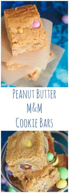 Peanut Butter M&M Bars | girlinthelittleredkitchen.com