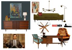 Putting together a style board for Mad Men-inspired Room: Don Draper's office