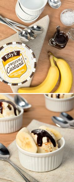 Edy's Frozen Custard Banana Splits: Your kids love Banana Splits, but wait until they try one with Frozen Custard! For an extra thick and creamy spin on this classic dessert treat, surround Salted Caramel Pretzel Frozen Custard with thinly sliced bananas. Then pour a drizzle of chocolate fudge sauce on top and finish off this delicious no-bake recipe with a dash of sea salt.