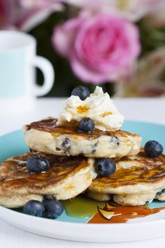 Sweet Blueberry and Mascarpone Single Serving Pancakes | Singly Scrumptious