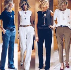 All perfect 👌 ❤️ via ❤️ ❤️ Style Casual, Classy Casual, Classy Outfits, Chic Outfits, Fashion Outfits, 60 Fashion, Over 50 Womens Fashion, Fashion Over 50, Work Fashion