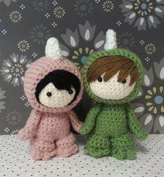 Amigurumi Dino Couple Custom made. $80.00, via Etsy.