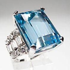 RETRO VINTAGE COCKTAIL RING AQUAMARINE & DIAMOND SOLID PLATINUM