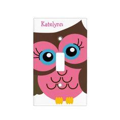 Monogram Pink Owl Light Custom Switch Plate Cover
