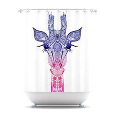 Monika Strigel, giraffe, rainbow, blue, pink, illustration, cute, africa, lashes, art, shower, curtain, bathroom, adorable, bath, swimming, swimmingpool, pool, summer, new