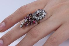European 5.28ct Authentic Art Nouveau Ruby and OLD Mine Cut Diamond 14k Gold Cluster Ring Circa 1890s EGL USA Certified