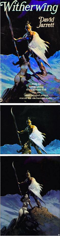 FRANK FRAZETTA - Witherwing by David Jarrett - 1979 Warner Books - painted at least 3 times - cover by isfdb - prints by frankfrazetta.org