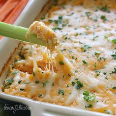 Hot and Spicy Buffalo Shrimp Dip - Move over buffalo wings, this hot and cheesy shrimp dip will have everyone going back for more! #weightwatchers