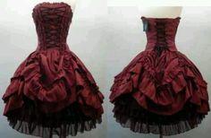 Vintage Burgundy Strapless Short Ball Gown Gothic Wedding Dresses Bridal Gowns