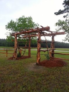 Wood arbor by the parking lot