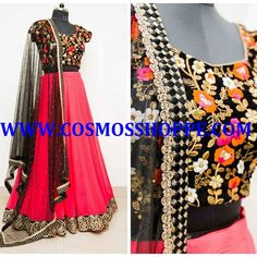 COSMOS WOMEN'S PINK EMBROIDERED LEHENGA BUY @ https://cosmosshoppe.com/products/cosmos-womens-pink-embroidered-lehenga