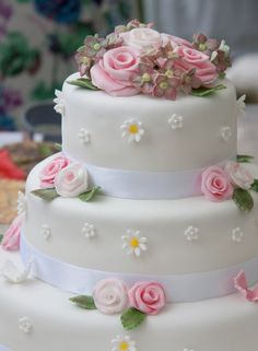 Garden  Party Wedding  Cake ~ Daisies,  Roses and Sweet William's ~ all edible