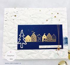 papierZART : Warten auf's Christkind, Weihnachtskarte in blau & gold, Alexandra Renke, aRTeam, Embossingfolder, Weihnachtsdorf
