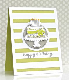 Pretty Periwinkles: Got Cake? (Reverse Confetti Candles 'n Confetti + Big Stripes Cover Panel) Birthday card