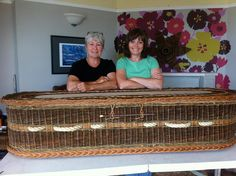 During our BIG week of weaving with Mel, we created a full size willow coffin. It took lot of weaving from the two of us and massive patience from Mel to complete this project in 4 1/2 days. We are really pleased with the result and hope to visit with Mel again, maybe willow sculpture next time, eh Mel?