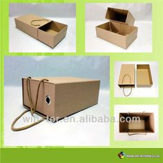 Source WT-PBX-462 Brown kraft drawer shoe box with handle on m.alibaba.com
