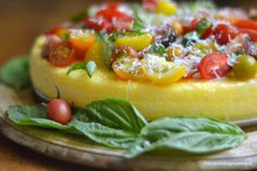 Polenta tart with heirloom tomatoes