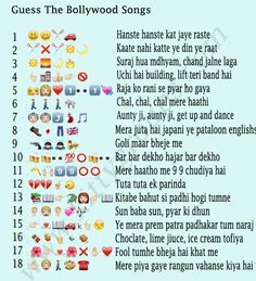 Check this WhatsApp Puzzle Guess The Bollywood Songs. These are famous Hindi Bollywood Songs made with WhatsApp Emoticons as Puzzle. Ladies Kitty Party Games, Kitty Party Themes, Kitty Games, Cat Party, Bollywood Theme Party, Bollywood Songs, Bollywood Posters, Funny Party Games, Birthday Party Games
