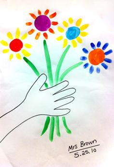 Picasso flower drawing - great for simple 1st grade project, along with learning about the artist