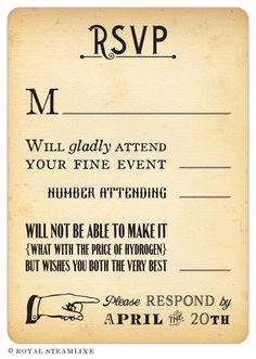 Steampunk Wedding Invitations - Royal Steamline