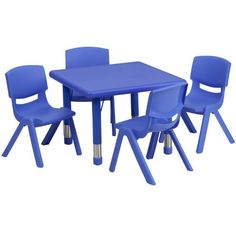 Flash Furniture Square Adjustable Plastic Activity Table Set with 4 School Stack Chairs 24 Blue * To view further for this item, visit the image link. (This is an Amazon Affiliate link and I receive a commission for the sales)