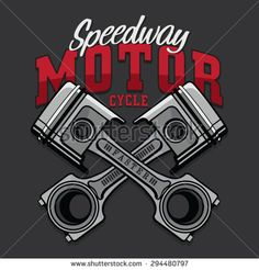 Motorcycle piston typography, t-shirt graphics, vectors