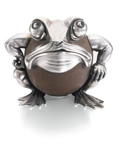 A FABERGÉ SILVER AND SANDSTONE MATCH HOLDER, WORKMASTER JULIUS RAPPOPORT, ST PETERSBURG, 1899-1908 the spherical body with gilt match container, the mounts humurously modelled as an anthropomorphic frog, struck with workmaster's initials and Fabergé in Cyrillic, 91 standard width 12cm, 4 3/4 in.