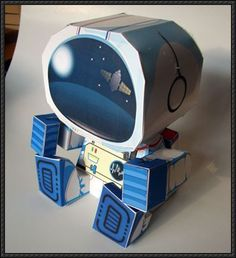 Astronaut and Rocketship Box Free Paper Toys Download