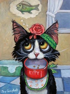"""""""If You Could Read my Mind"""" - Original Fine Art for Sale - © Joy Campbell. 🌻 For more great pins go to Image Chat, Gatos Cats, Arte Sketchbook, Cat Colors, Cat Paws, Cat Drawing, Whimsical Art, Funny Art, Crazy Cats"""