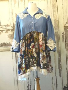 Womens, blue floral, loose fit, vintage doilies, boho chic, plus size, eco fashion, upcycled clothing, tunic dress. One-Of-A-Kind, handmade,