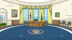 The Oval Office Background :  An oval office with ivory wall tall windows with yellow drapes blue carpet that shows the seal of the president of the United States of America an oak desk and dark green chairs painting plants in pots flags of the USA and POTUS  The post The Oval Office Background appeared first on VectorToons.com.   #clipart #vector #cartoon