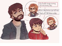 """""""Every Andy needs Chucky (even if he's acting like an asshole♡) Chucky Horror Movie, Horror Movies Funny, Horror Movie Characters, Horror Films, Scary Movies, Horror Art, Michael Myers, Freddy Krueger, Chucky Drawing"""