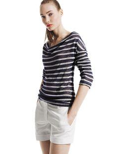 Joe Fresh™ Stripe knit top & Cuffed short