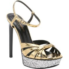 Saint Laurent Gold Elaphe Snakeskin Platform Stiletto Sandals... ($990) ❤ liked on Polyvore featuring shoes, sandals, open toe sandals, gold stilettos, gold shoes, gold ankle strap sandals and high heel sandals