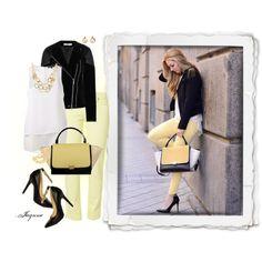 """'Celine Trapaze Bag'"" by ladyjaynne on #Polyvore #yellow #jeans #anklestrap #goldjewelry #black #pumps #jacket #layered #tanktop #celine #bag"