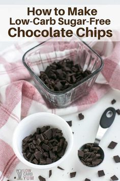 Homemade Sugar Free Low Carb Chocolate Chips It's simple to make stevia sweetened sugar free chocolate chips. And these low carb chocolate chunks are perfect for using in keto desserts. Keto Desserts, Sugar Free Desserts, Sugar Free Recipes, Keto Recipes, Dessert Recipes, Stevia Desserts, Holiday Desserts, Keto Snacks, Stevia Recipes