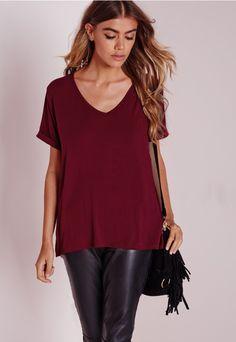 Petite Boyfriend V Neck T Shirt Burgundy - T Shirt - Tops - Missguided
