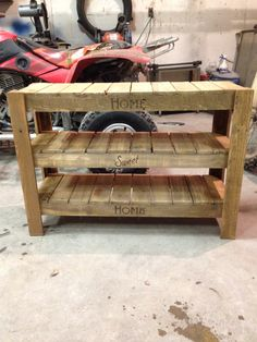 shoe rack made out of pallets