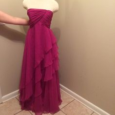 Long Strapless Formal/Prom Gown This beautiful gown is perfect for many occasions; prom, college formal, balls, etc. It has a hidden zipper in the back. All profits will be donated to Shalimar Presbyterian Church ⛪️ Bust: about 28 inches. Waist: about 24 inches. Length: about 50 inches from the under arm. 🎁 Gift Wrapping Available for $5 Mike Benet Formals Dresses