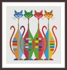 Cats Band is a pattern, not the completed work. This pattern allows you the freedom to pick your own fabric and floss color. On aida the designs measures X cm / X inches / X Stitches. Sizes will change with count size. Dont forget to add room for a Cross Stitch Geometric, Cross Stitch Owl, Cat Cross Stitches, Simple Cross Stitch, Modern Cross Stitch Patterns, Cross Stitch Embroidery, Embroidery Patterns, Hand Embroidery, Mochila Crochet