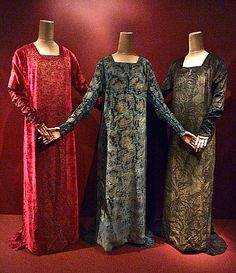 """Silk velvet dresses, from exhibit """"Fortuny y Madrazo   An Artistic Legacy""""  at Queen Sofia Spanish Institute, New York, NY"""