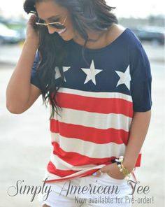 """www.apricotlaneboutique.com/simply-american-tee-3/?ac=overlandpark   Our """"Simply American Tee"""" $29 is now available for pre-order! Order yours today so you don't miss out! These will begin shipping beginning of next week! All pre-orders are final sale!"""